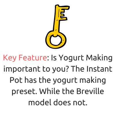 key feature instant pot vs breville yogurt