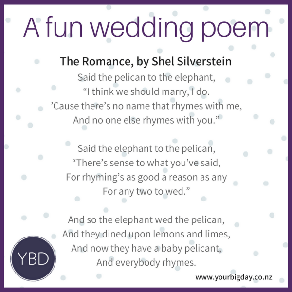 3 Fun Poems for your Wedding Ceremony  Your Big Day