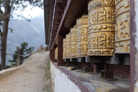 Prayer wheels at the monestary in Namche