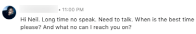 LinkedIn Message Example