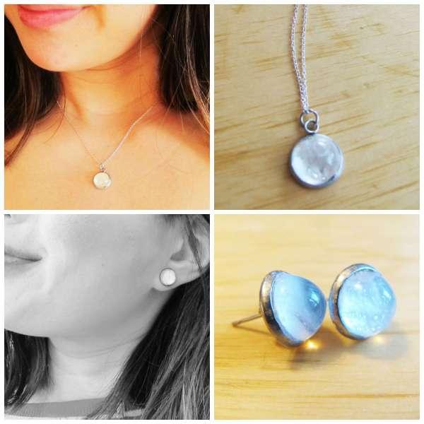 Breast Milk Jewelry Keepsake Pendant Bubble Necklace Sterling Silver SET- hypoallergenic options