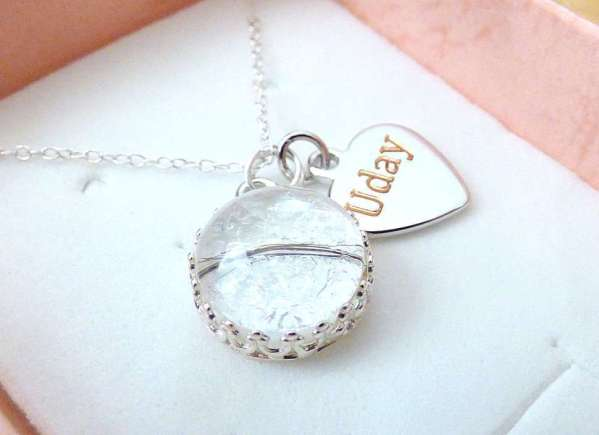 breastmilk necklace sterling silver crown engrave heart round hair black