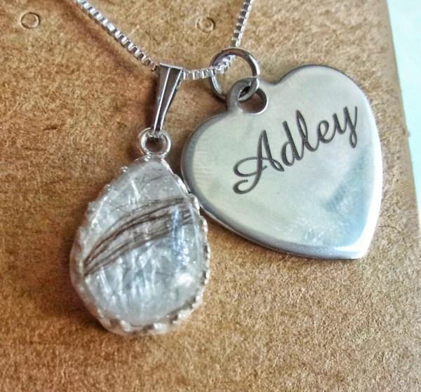 Drop crown silver necklace