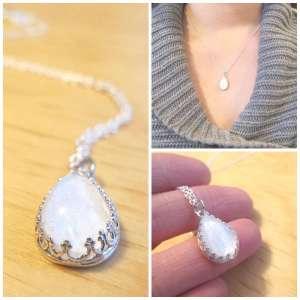 Sterling Silver Milk Drop Crown Breast Milk Necklace
