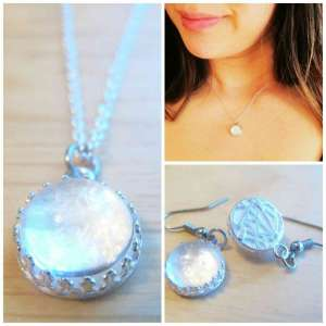 925 Sterling Silver Breast Milk Jewelry Crown Necklace & Dangling Earrings SET w/ hypoallergenic hooks