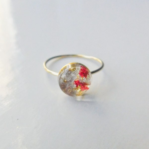 Simply 14k Gold Filled Ring with red dried flowers and gold flakes