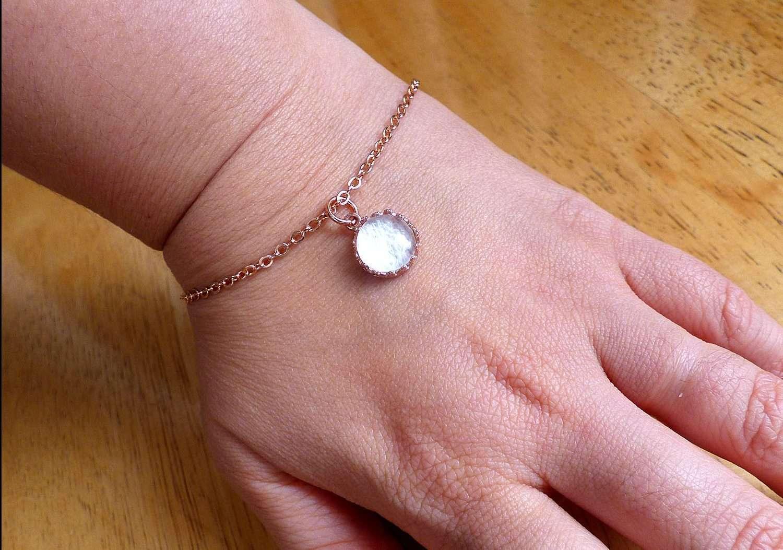 Rose Gold Red Queen Crown Bracelet Breast Milk Jewelry Keepsake -3805