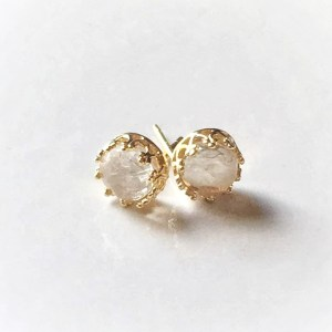 round crown gold breast milk stud earrings