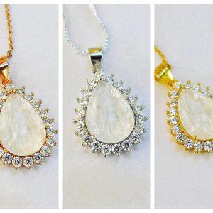 14k SOLID Gold /Vermeil- Tear Drop Moissanite Diamonds Breast Milk Necklace - Breast Milk Jewelry -Silver/ Rose Gold /Gold