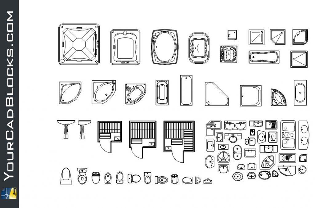 Cad Bathroom Fittings Dwg Free Drawing Blocks 2d Autocad