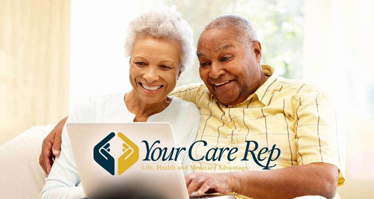 Happy seniors taking Medicare Advantage questionnaire from YourCareRep.com