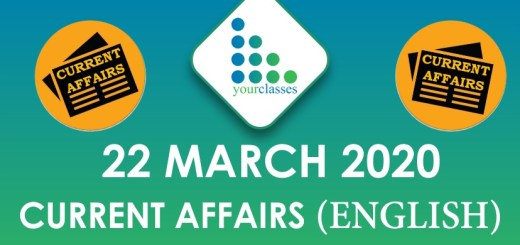 22 March Current Affairs 2020 in English