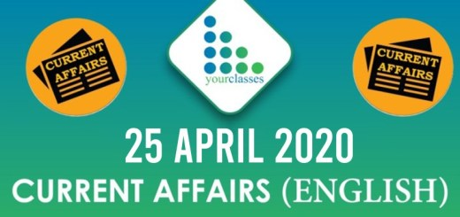 25 April Current Affairs 2020 in English