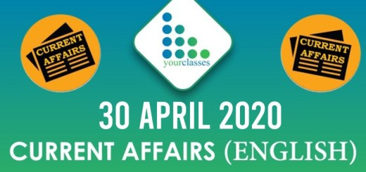 30 April Current Affairs 2020 in English