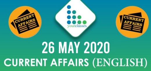 26 May, Current Affairs 2020 in English