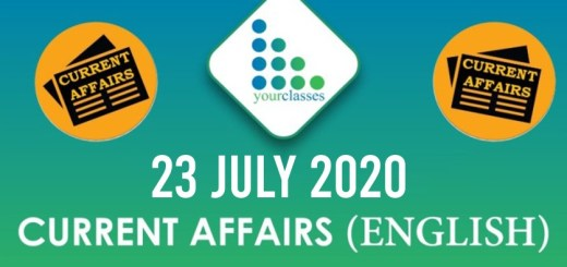 23rd July Current Affairs 2020 in English