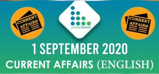 1 September 2020 Daily Current Affairs English