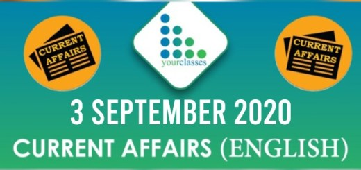 Daily Current Affairs 3rd September 2020 in English