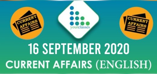 Daily Current Affairs 16th September 2020 in English