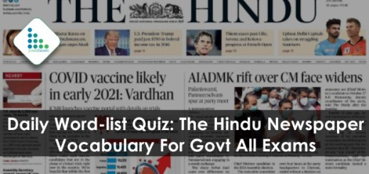 Daily Word-list Quiz: The Hindu Newspaper Vocabulary For Govt All Exams