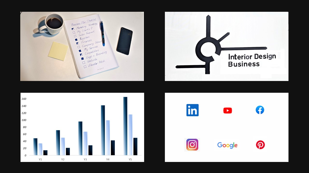 Business plan for your design business - Image of four slides, Coffee cup with notebook, roundabout road sign with junctions off it, social media icons and bar graph showing growth.