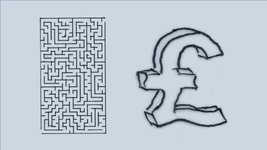 Image of a maze and GBP Sterling symbol to illustrate that you can build your own website