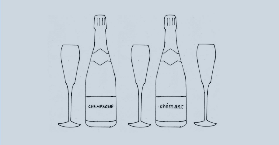 Image of bottles of crémant and champagne to illustrate the impact of pricing strategy on interior design brands
