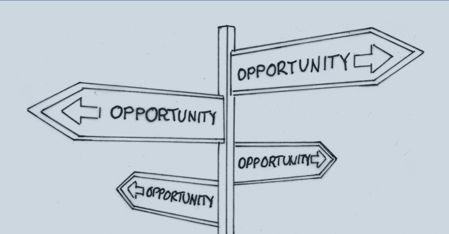 Image of a road sign showing opportunities in all directions