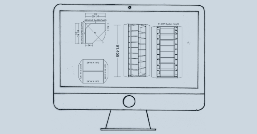 Image of technical drawing on a Mac showing how new clients can access interior design tools