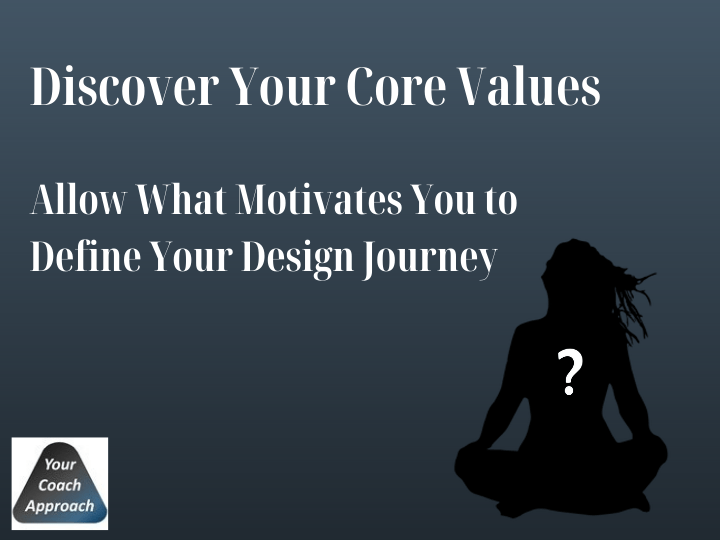 Image of a lady in a seated yoga position to illustrate that understanding your core values is important for your design journey
