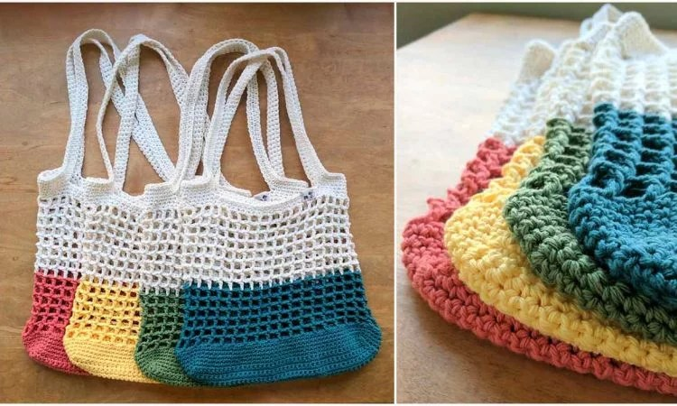 Color Block Market Bag Free Crochet Pattern  Your Crochet