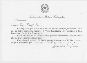 Letter from On. Claudio Bisognero, Italian Ambassador to the United States