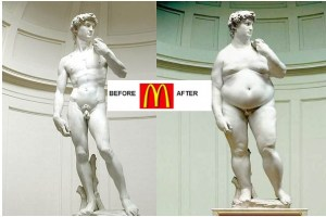 illustration of David's statue before & after McDonald. on the Alps It is reported thou didst eat strange flesh, Which some did die to look on