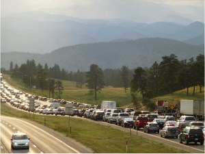 image of gigantic traffuc jam for 90 miles