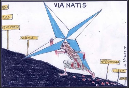 A representation of NATO carrying its hevy symbol uphill in quest for further domination - and a parallel between the via natis and the via crucis