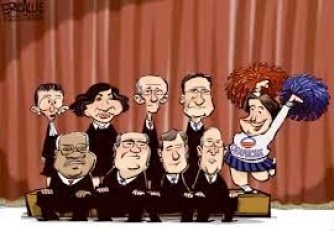 Cartoon of supreme court in connection with the eulogies for supreme court justice scalia and Macbeth quote after life fitful fever he sleeps well