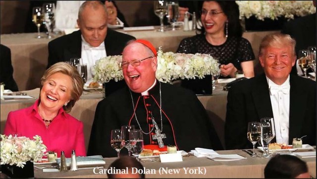 Cardinal Dolan between Clinton and Trump
