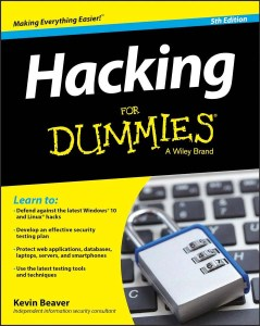 "An illistration of the book ""Hacking for Dummies"", the title of the blog by the same name"