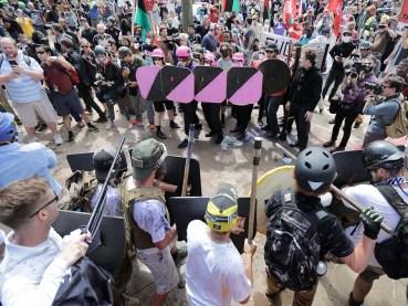 Demonstrators and counter-demonstrators at Charlottesville