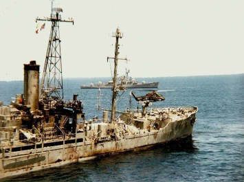 An image of USS Liberty after the attack on Jun 8, 1967