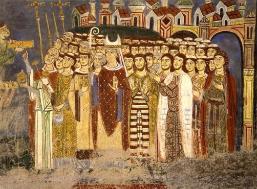 Illustration of a Medieval Fresco from the Cathedral of Anagni, Italy