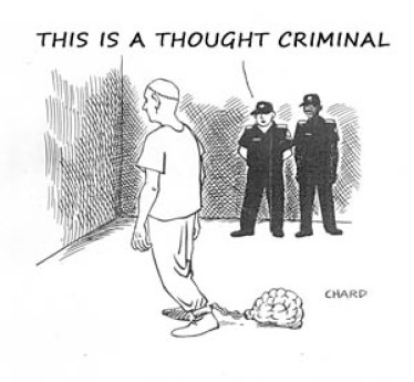 Ironic depiction of a thought criminal, a convict with his brain linked to his leg by a chain
