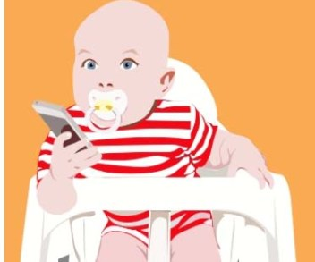 illustration for Tale Told The Millennials - baby with sucker and smart phone