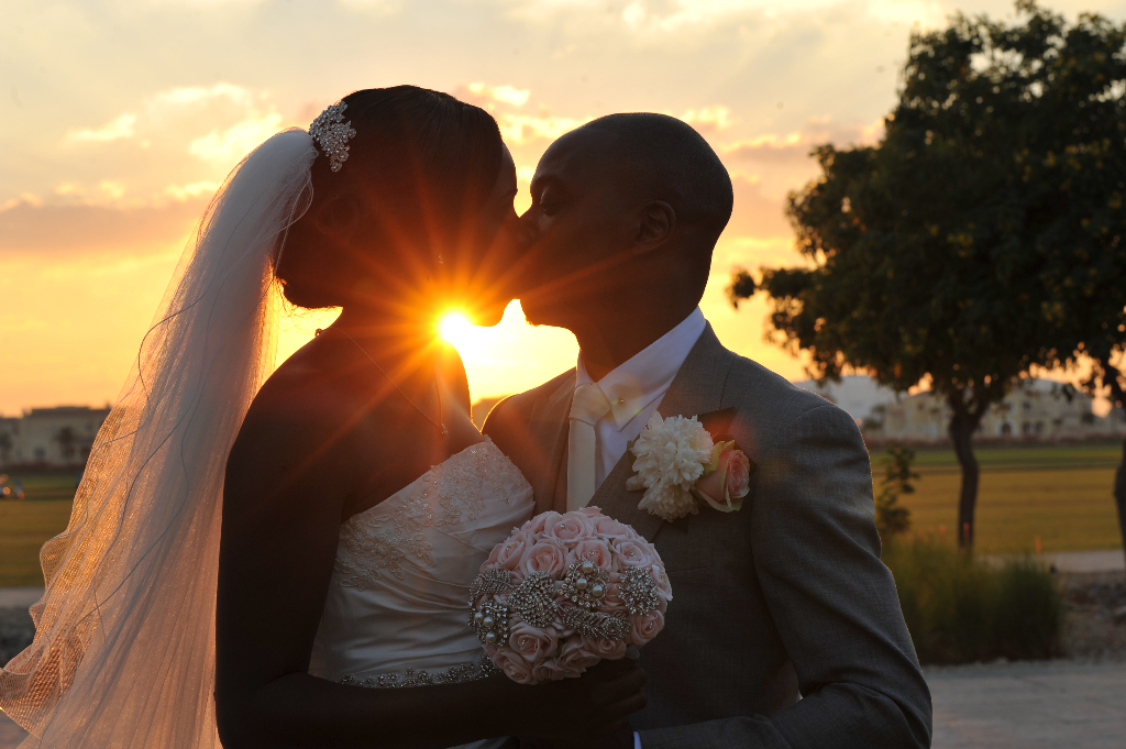 sunset kiss wedding dubai nigerian love
