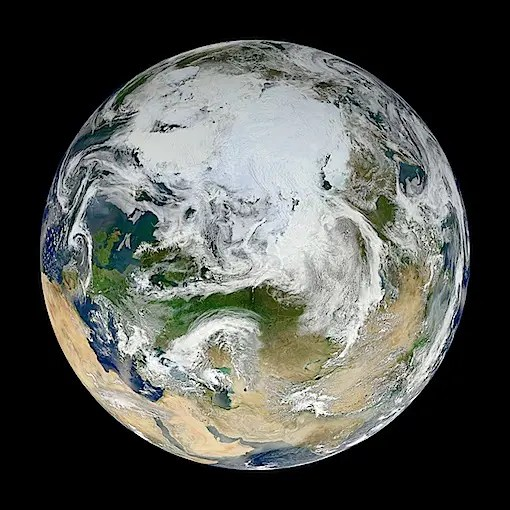 THE VIEW FROM THE TOP (頂点から見た地球)(NASA MODIS 2012.05.26 )より。