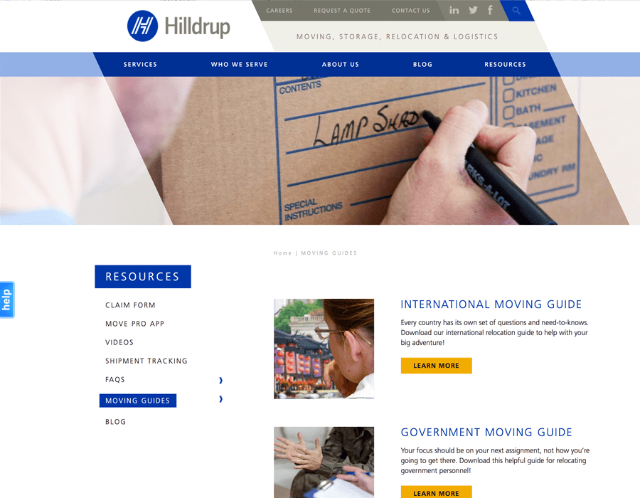 Portfolio Screenshot of Hilldrup Resources