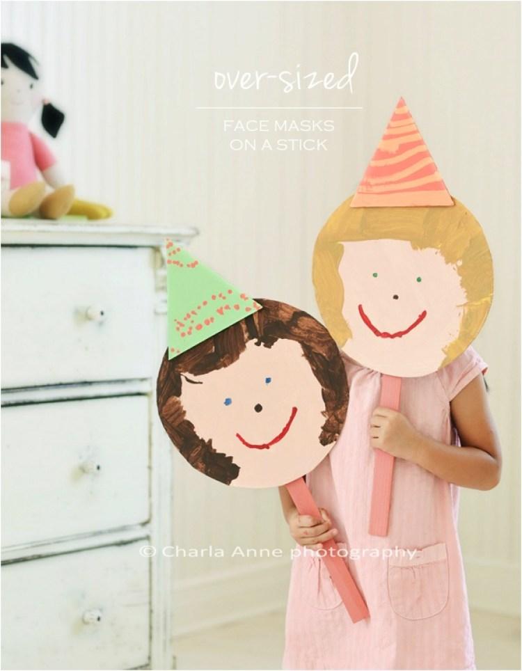 """""""DIY kids face mask on a stick"""""""