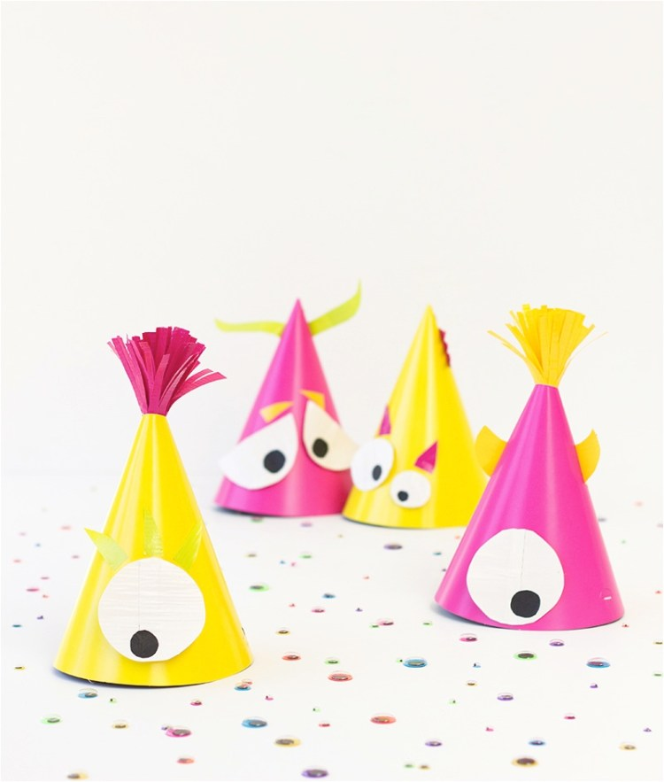make your own monster themed party hats