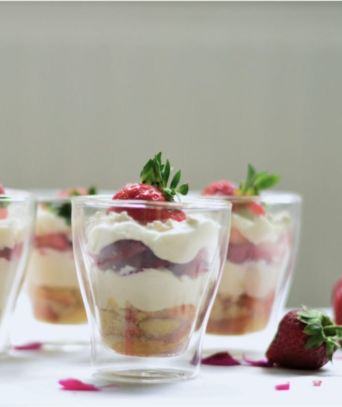 Strawberries and whipped cream two ways