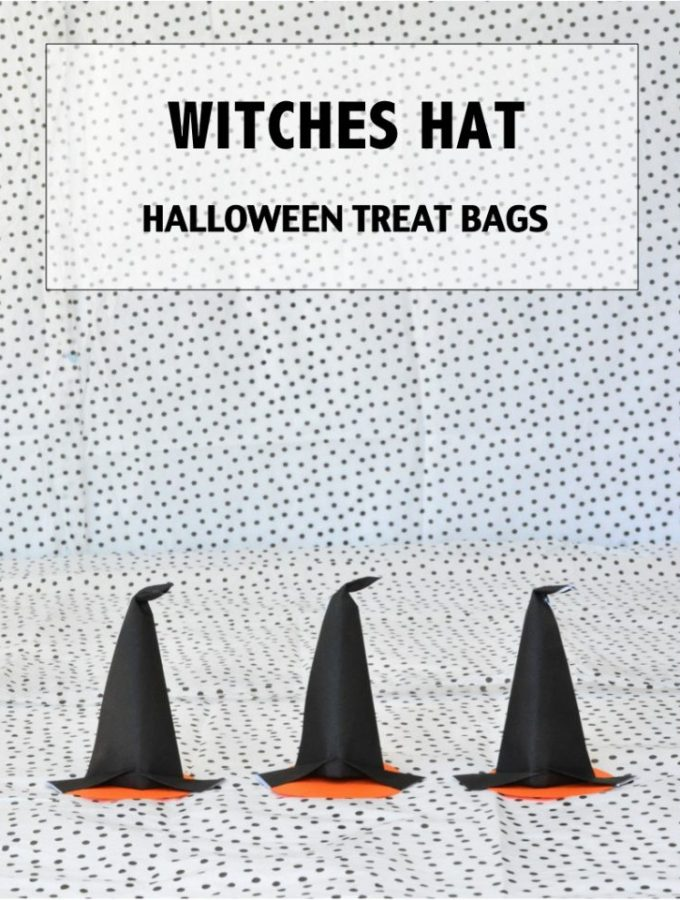 Mini witches hat halloween treat bags